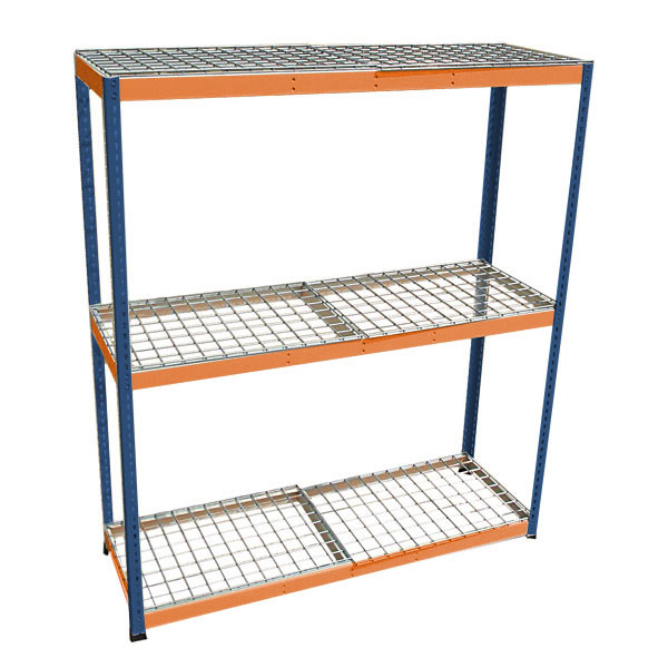 boltless rivet shelving with wire deck